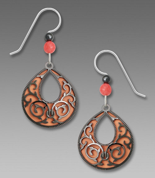 Earrings - Peach Teardrop Filigree w/HM Overlay - 7755