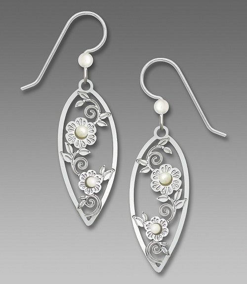 Earrings - IR Pointed Tear Drop w/Flowers & 2 Pearl Cabs - 7779