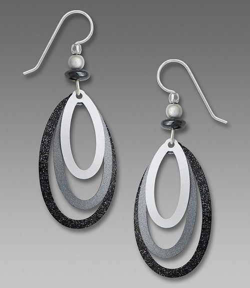 Earrings - Three Part Gunmetal and Silver oval Stack - 7781