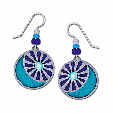 Earrings - Sun and Moon in Silver and Blue - 7883