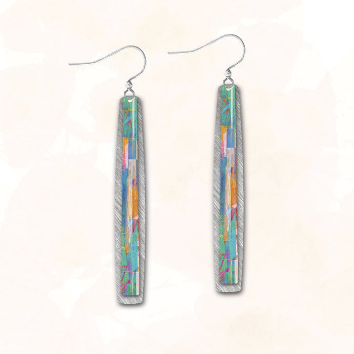 Earrings - Blue Green Orange Summer Days Thin Double Rectangle - 7NLS