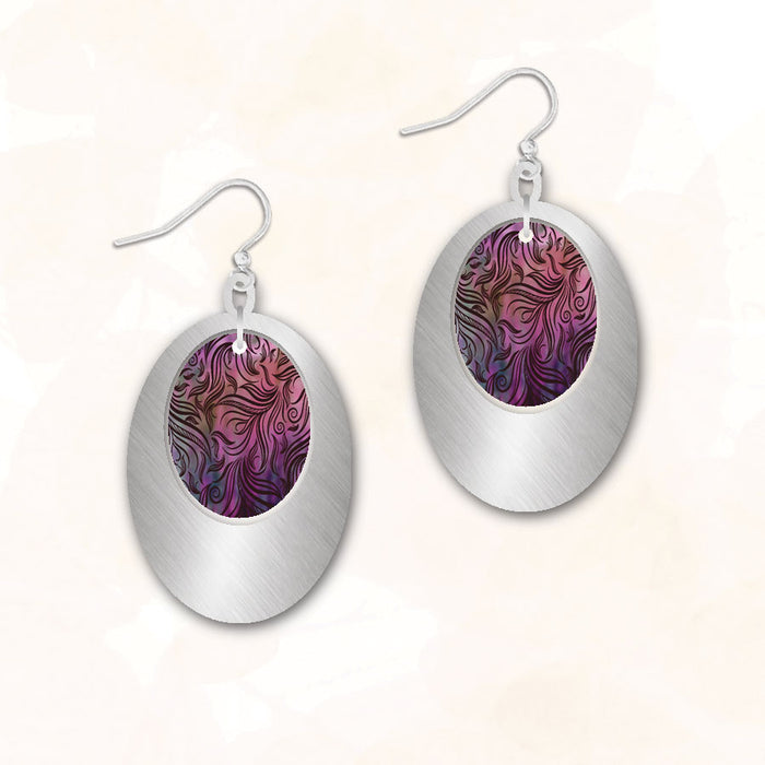 Earrings - Pink and Purple Swirl Ovals - 8COS