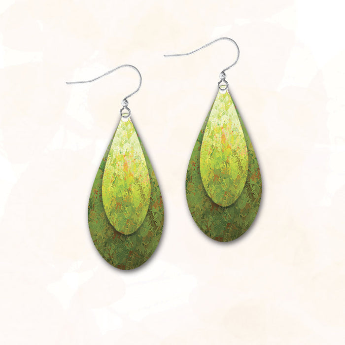 Earrings - Bright Green Hues Double Teardrop - 9DT