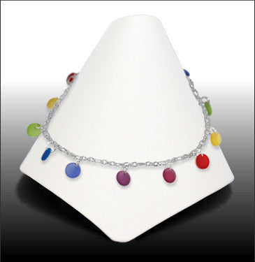 Anklets - Dew Drop - Rainbow Colored Glass - ADW2154