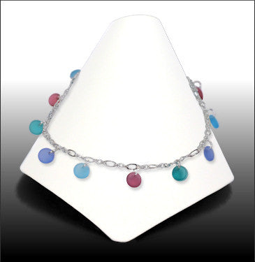 Anklets - Dew Drop - Pink and Blue Glass - ADW5049