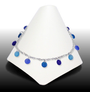 Anklets - Dew Drop - Pacific Blue Glass - ADW-5462