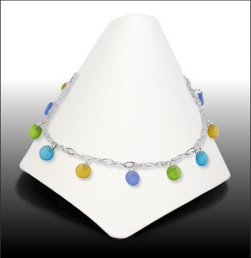 Anklets - Dew Drop - Green and Yellow Glass - ADW8006
