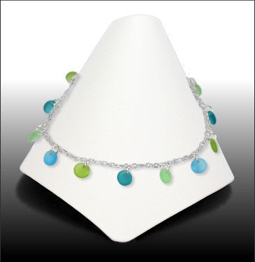 Anklets - Dew Drop - Gulfstream Green Glass - ADW-8070
