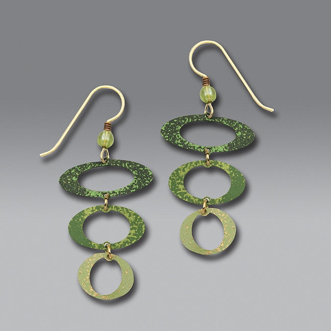 Earrings - 3 green open ovals - 7114