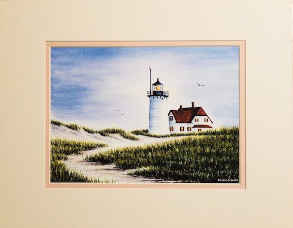 Print - 11x14 - Race Point Lighthouse - Tan Matte