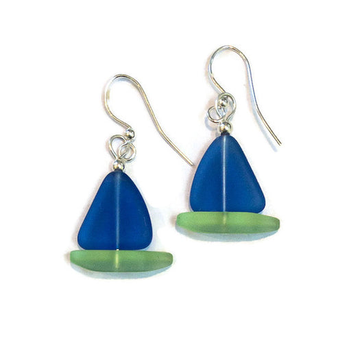 Earrings - Sailboat - Cobalt Sail/Peridot Hull