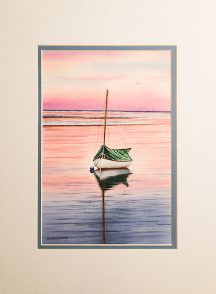 Original - 12x16 - Watercolor - Catboat at Sunset - Blue Matte