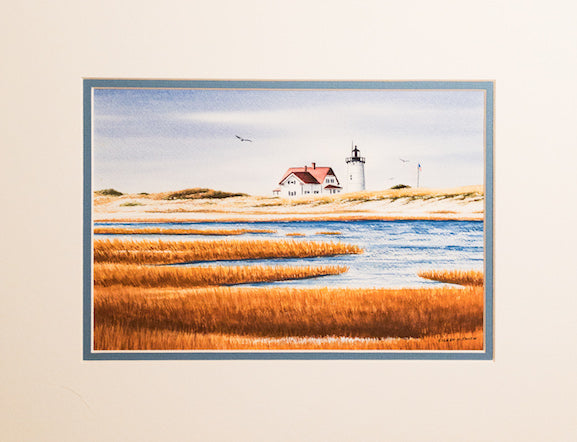 Original - 12x16 - Watercolor - Race Point - Blue Matte