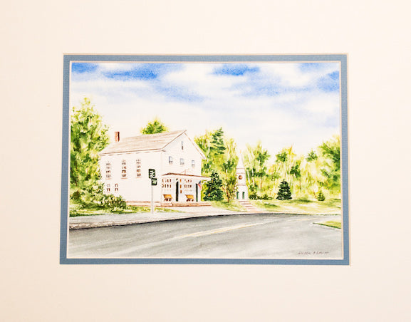 Original - 11x14 - Watercolor - Brewster General Store - Blue Matte