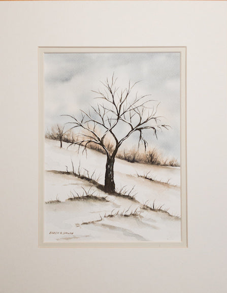 Original - 11x14 - Watercolor - Winter Tree - Off White Matte