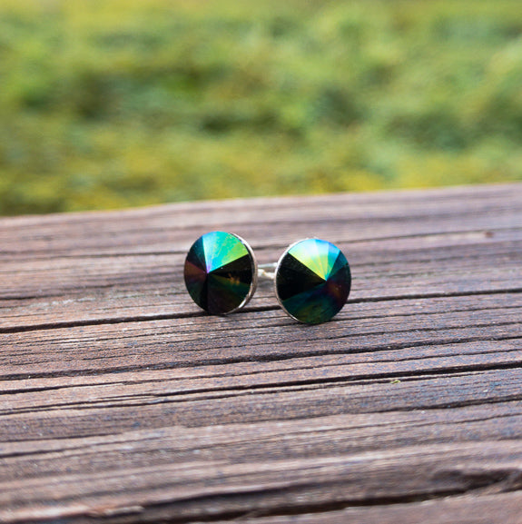 Earrings - Huckleberry - Rainbow Vitrail