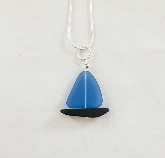 Necklace - Sailboat - Sapphire Blue Sail/Black Hull