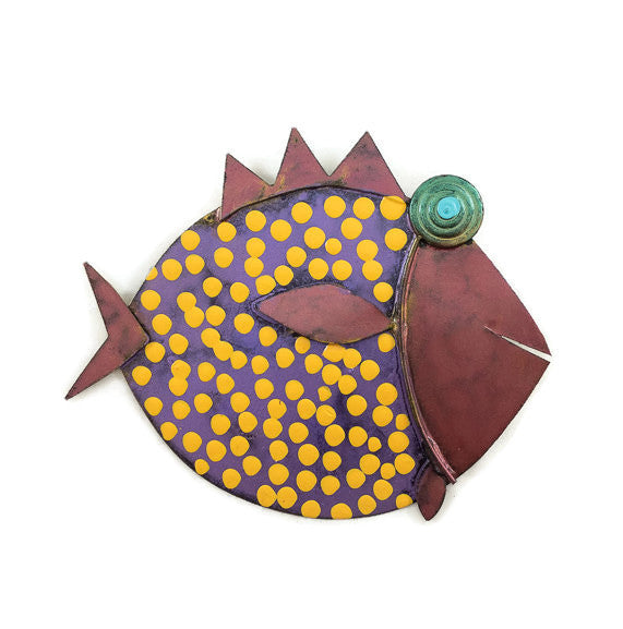 Fish - 102 - Wall - Purple Body/Pink Head - Orange Dots