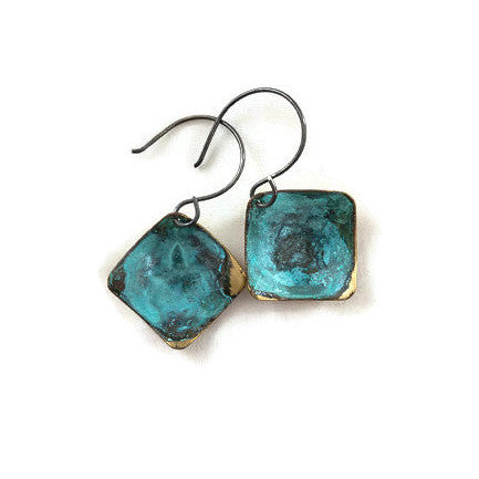 Earrings - Verdigris Domed Squares - E1733