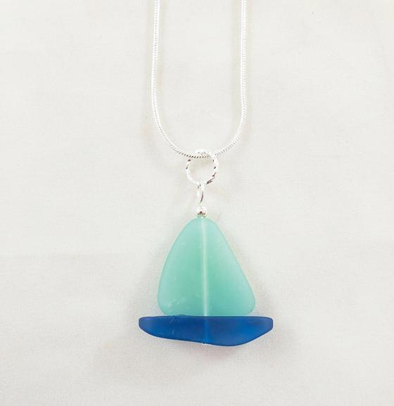 Necklace - Sailboat - Opaque Green Sail/Cobalt Hull