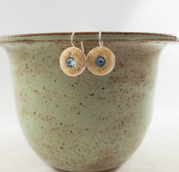 Earrings - Round Drop - Aquamarine - Crosby