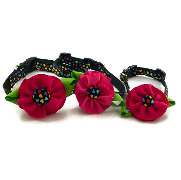 Dog Collar - Multi-Color Hearts - Pink Flower - Medium