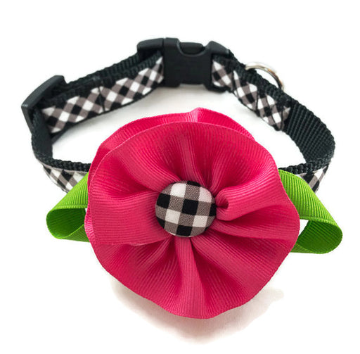 Dog Collar - Black Plaid with Pink Flower - Medium