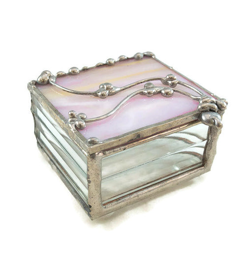 "Glass Treasure Box - 2""x2"" - Marbled Pink and Yellow - 22-DW"