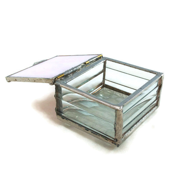 "Glass Treasure Box - 2""x2"" - Marbled Pink - 22-DW"