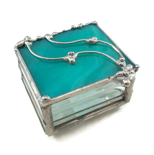 "Glass Treasure Box - 2""x2"" - Marbled Teal - 22-DW"