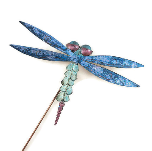Garden Stake - Dragonfly - Blue Wings - Green Body