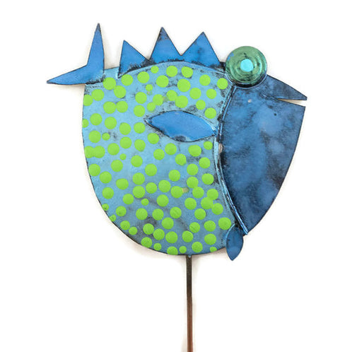 Garden Stake - Fish Stick - 101 - Blue Body/Blue Head - Bright Green Dots