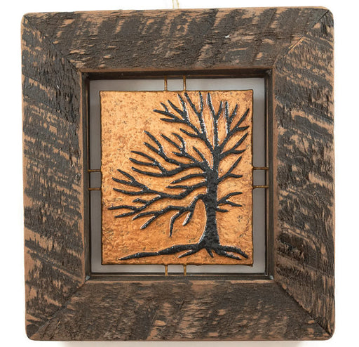 "Tree Tile - Brown on Copper - 7""x7.5"""