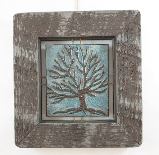 "Tree Tile - Brown on Blue - 7""x7.5"""