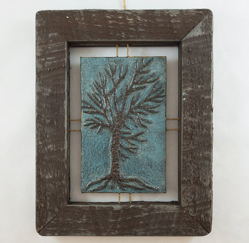 "Tree Tile - Brown on Blue - 7""x9"""