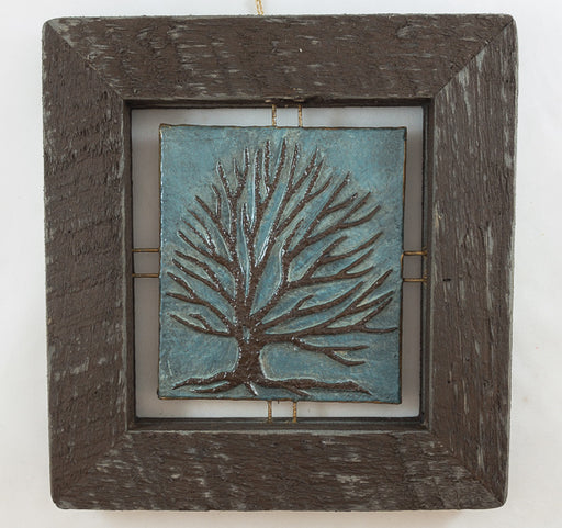 "Tree Tile - Brown on Blue - 7.5""x8"""