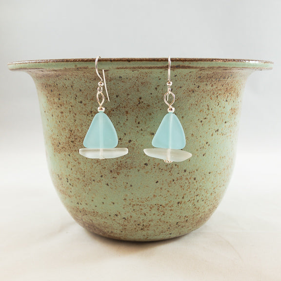 Earrings - Sailboat - Opaque Blue Sail/Clear Hull