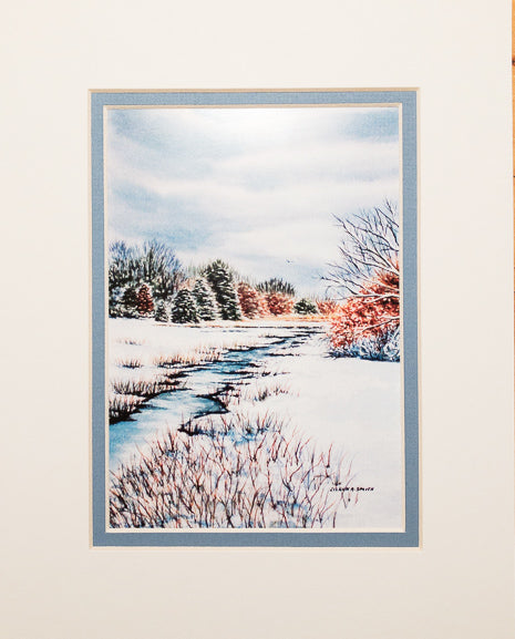 Print - 8x10 - Winter Stream - Blue Matte