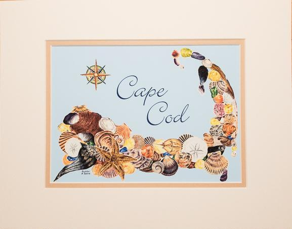 "Print - 11x14 - Cape Cod Shells Blue - ""Cape Cod"" - Tan Matte"