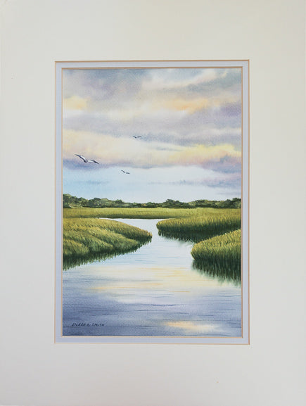Original - 12x16 - Watercolor - Eastham Marsh - White Matte