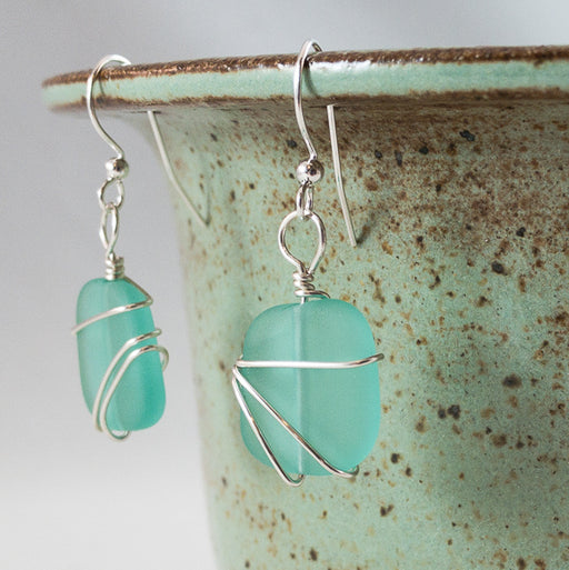 Earrings - Freeform Wraps - Small - Aqua Green