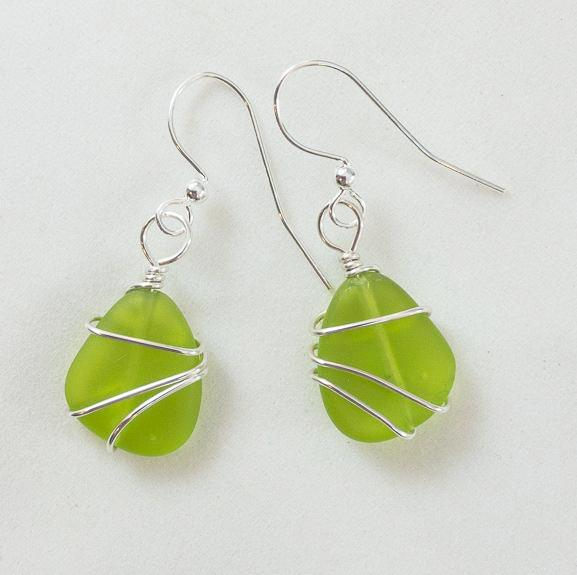 Earrings - Freeform Wraps - Small - Olive Green
