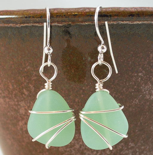 Earrings - Freeform Wraps - Small - Opaque Green