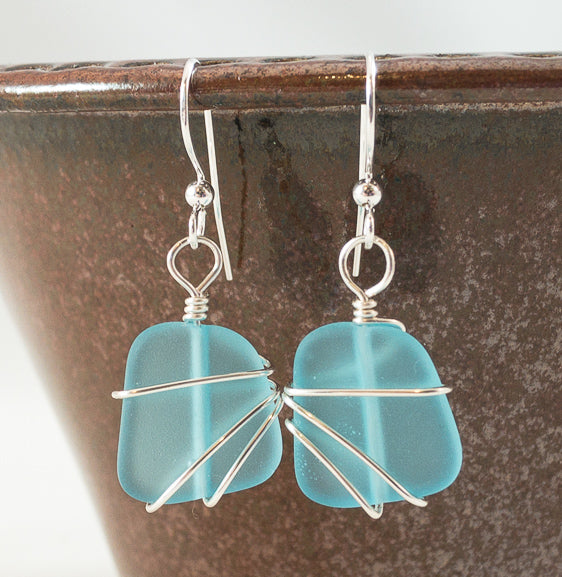 Earrings - Freeform Wraps - Small - Turquoise Blue