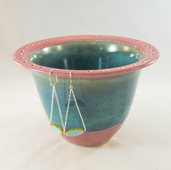 Earring Bowl - Cascade over Pink with Glass