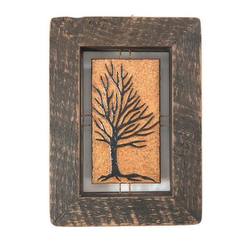 "Tree Tile - Brown on Copper - 7""x9"""