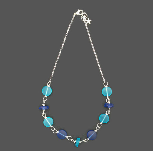 "Necklace - Coin Cluster - 18"" - Blues"