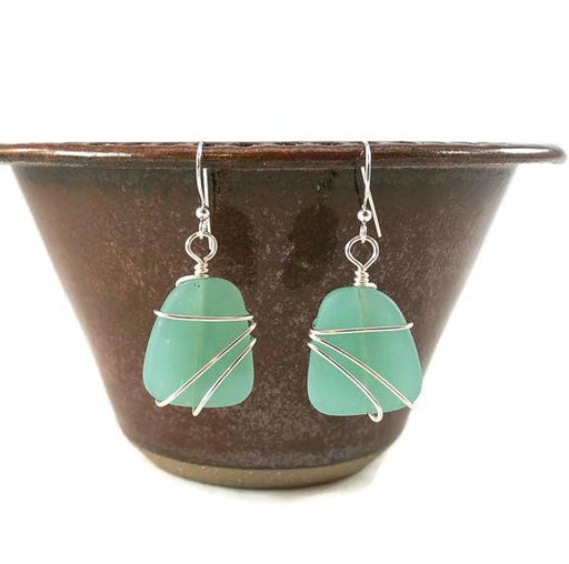 Earrings - Freeform Wraps - Opaque Green