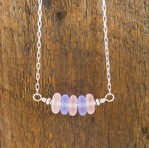 Necklace - Sea Glass Bar - Rondelles - Pinks/Purples