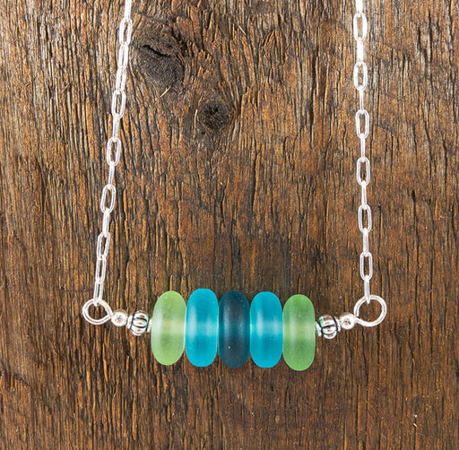 Necklace - Sea Glass Bar - Rondelles - Blues/Greens
